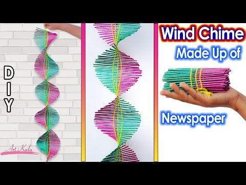 Newspaper wall hanging | Newspaper wind chime | best out of waste | Artkala 120