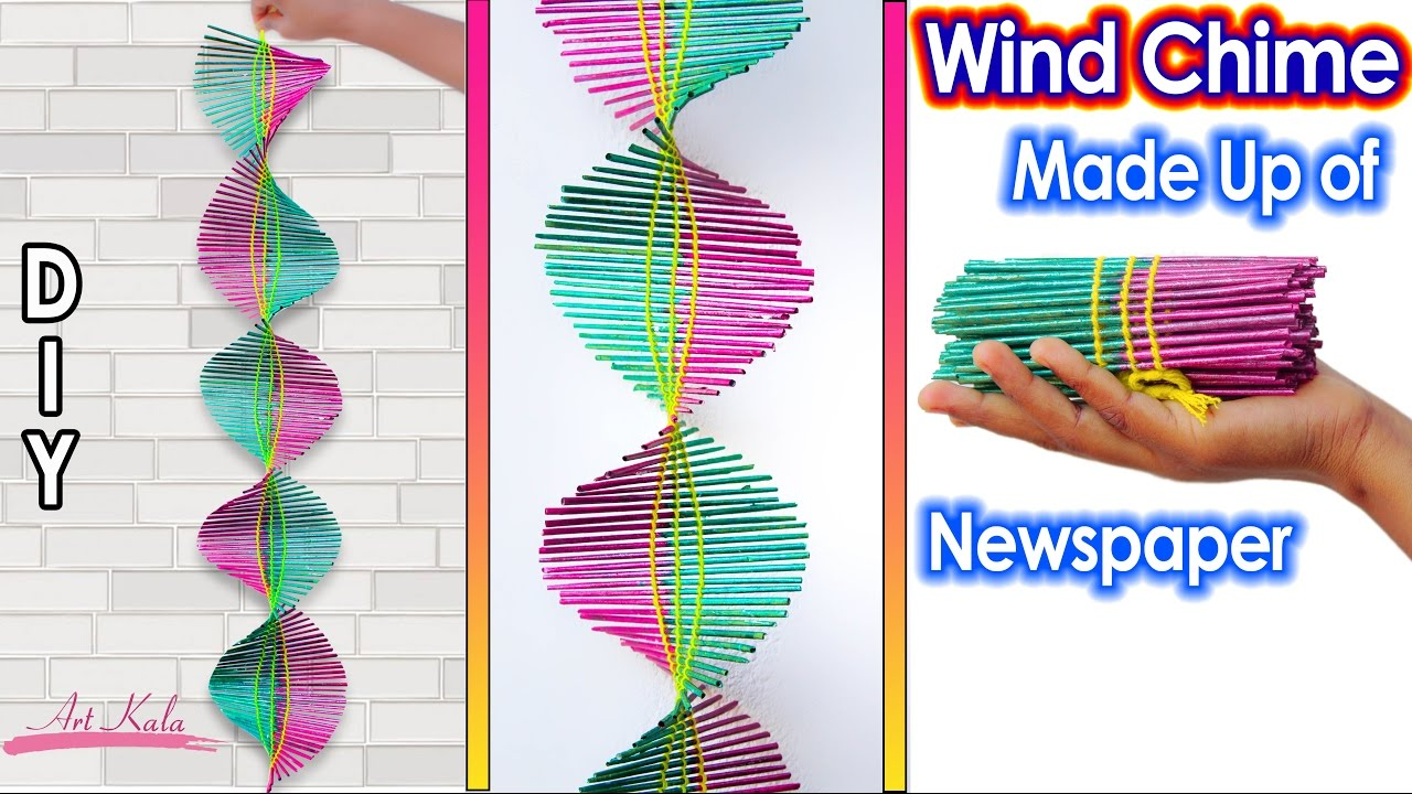 Newspaper wall hanging newspaper wind chime best out for Waste material craft work with newspaper