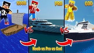 Minecraft NOOB vs PRO vs GOD - THE BOAT CHALLENGE!!