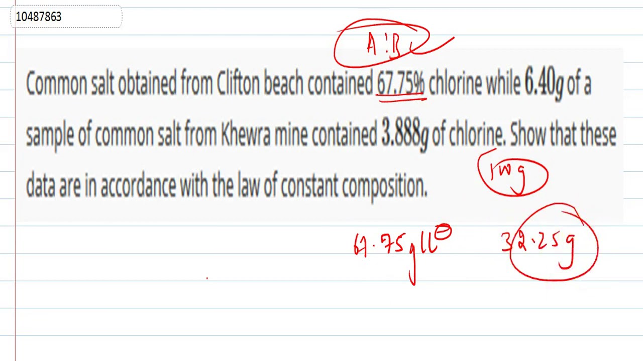 Common salt obtained from Clifton beach contained 6.75% ...