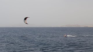 Kiteboarding off a Catamaran  Greece