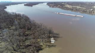 Towboat SHERRYL B. REEVES With Minor Flood Stage on the Mississippi