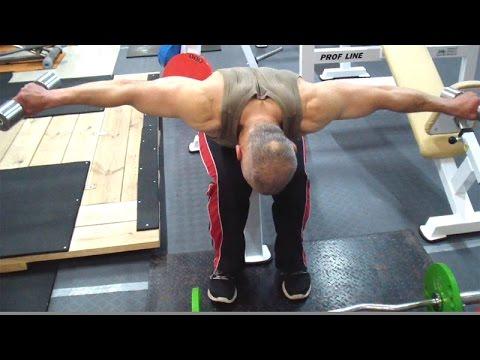 Упражнение для плеч: разведение гантелей в наклоне сидя или стоя
