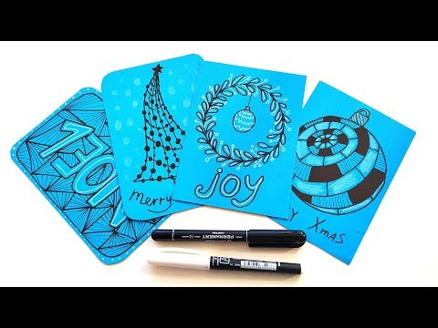 diy-christmas-cards-with-zentangle-patterns---easy-crafts-ideas-to-make-and-sell