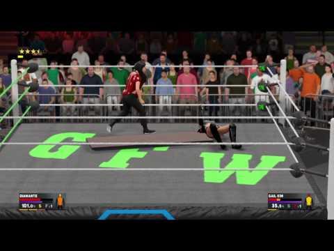 WWE 2K17 GFW Impact Gail Kim defeat LAX member Diamante in a Tables Match