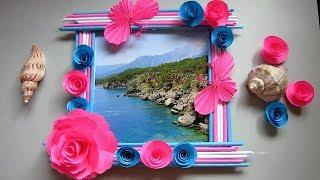 Make Photo Frame Out Of Newspaper Sticks | Diy-Newspaper Paper-Crafts | DIY Wall decor frame. i3