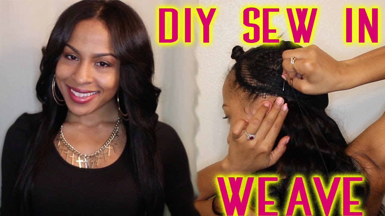 weave hair extensions styles sew in weave tutorial no glue diy 7585 | maxresdefault