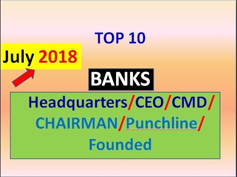 August 2018(Updated) BANKs Headquarters/CEO/CMD/CHAIRMAN/Punchline/Founded