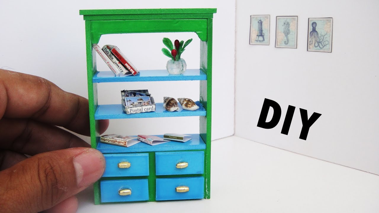 Dollhouse Bookcase Diy: Cabinet - Dollhouse - YouTube
