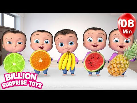 Five Little Babies Eating Fruits | + More Kids Songs | Billion Surprise Toys