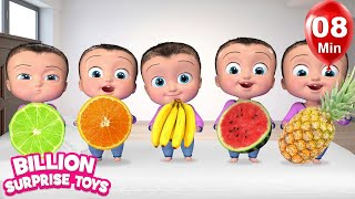 Download Five Little Babies Eating Fruits | + More Kids Songs | Billion Surprise Toys Mp3 and Videos