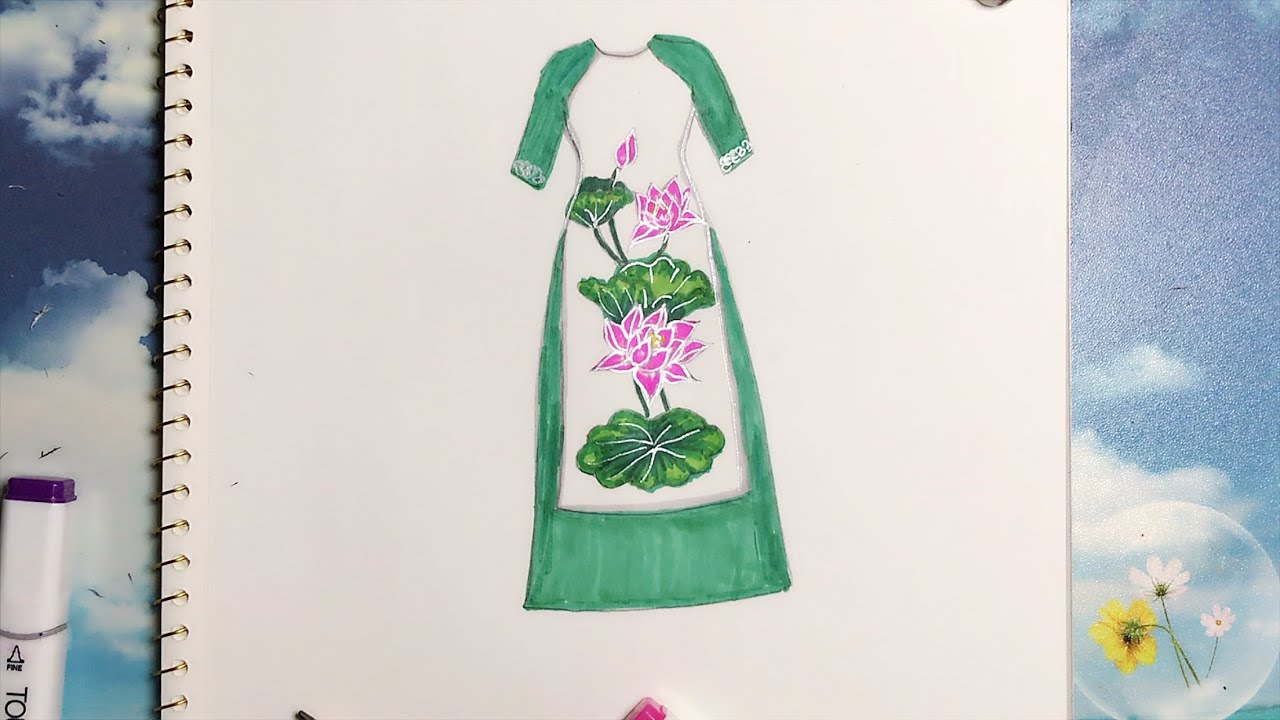 How to draw long dress Vietnamese – Vẽ Áo Dài Cách tân – An Pi TV Coloring