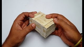 How to Make Puzzle Box With Ice Cream/Popsicle Stick Diy (Secret Compartment Box)