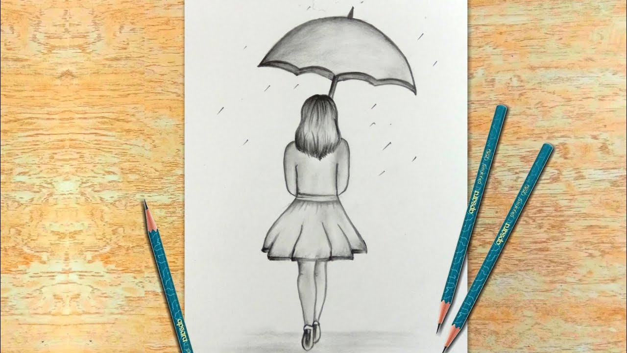 Girl With Umbrella   Easy Pencil Drawing for Beginners   Creative Drawing  Ideas   20