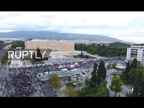 LIVE: DRONE captures mass demo against cuts in Athens