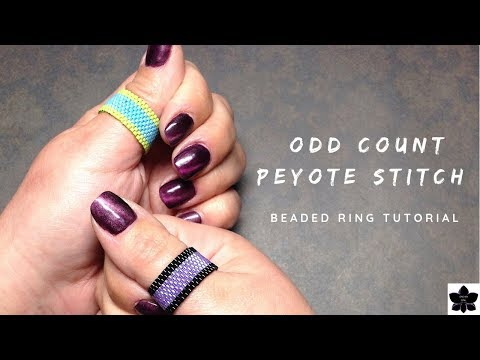 Odd Count Peyote Stitch Ring Tutorial | Modern Stripe | Miyuki Delica Beaded Jewelry