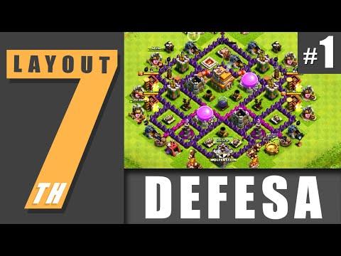 layout cv 7 defesa 1 town hall level 7 defense 1 clash of