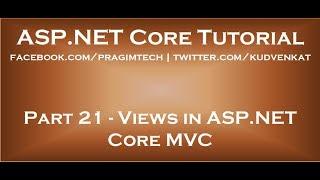Views in ASP NET Core MVC