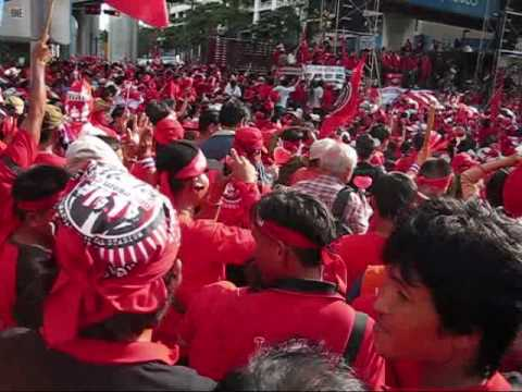 Thousands of protesters assembled near the stage at Rajprasong intersection.