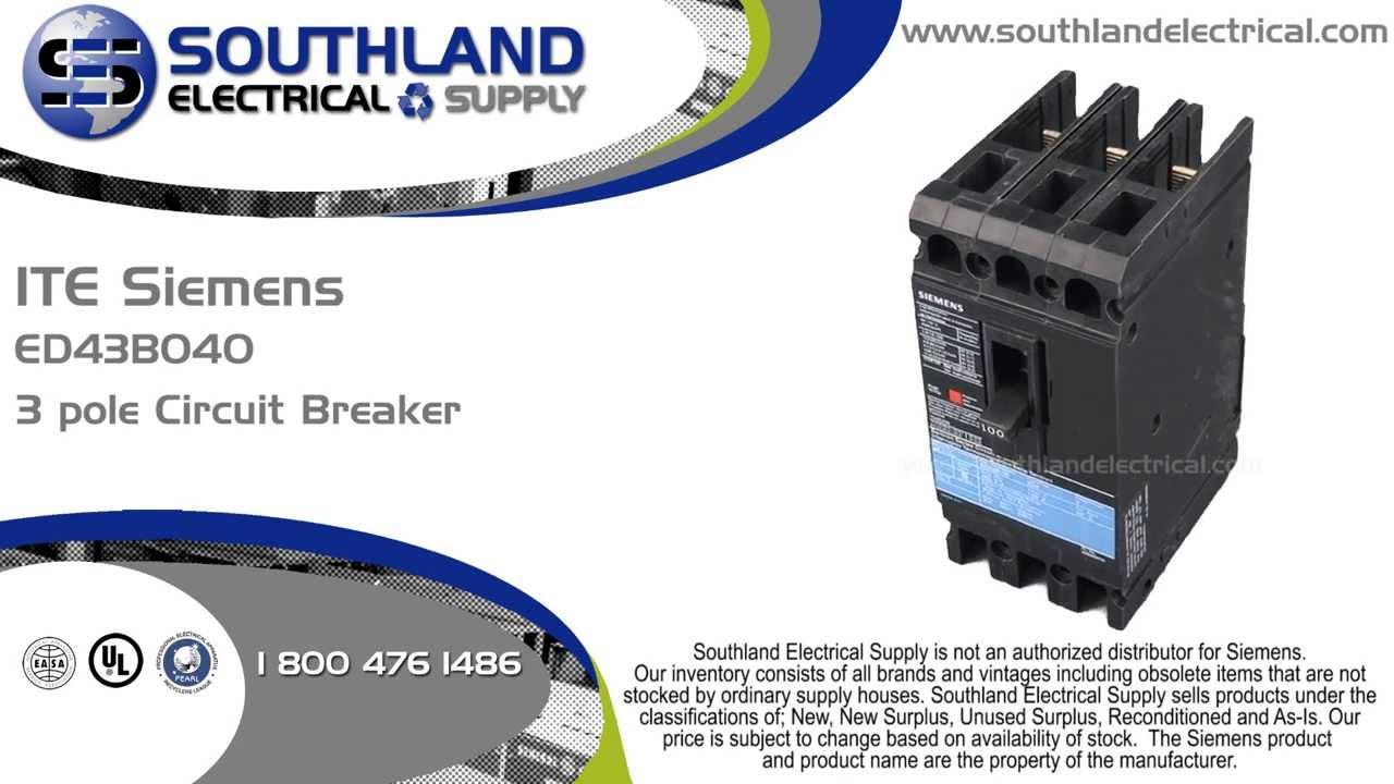 ITE Siemens ED43B040, 40 Amp, 480 Volt, 3 Pole Circuit Breaker