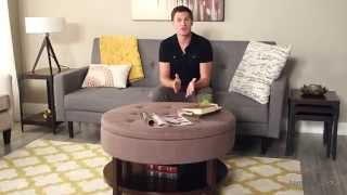 Belham Living Coffee Table Storage Ottoman With Shelf - Chocolate - Product Review Video