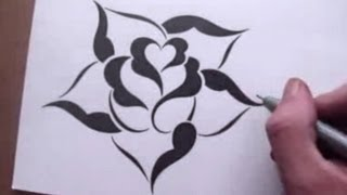 rose drawing stencil easy basic simple drawings designs cool roses stencils step pattern inspiration paintingvalley