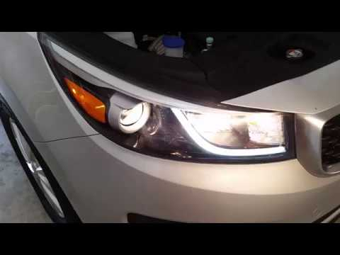 2017 2018 Kia Sedona Minivan Testing Headlights After Replacing Burnt Out Light Bulb Low Beam