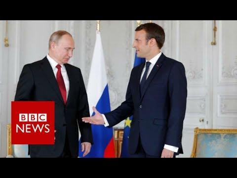 France's Macron holds 'frank exchange' with Putin - BBC News