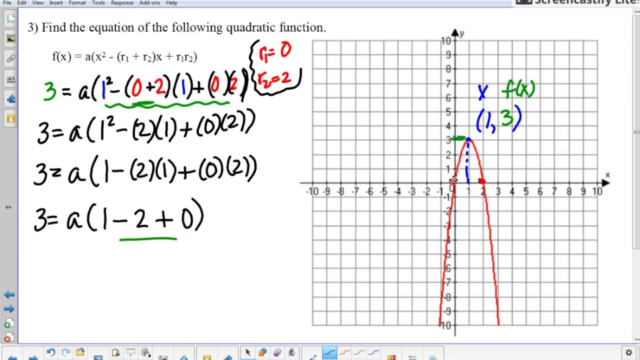 Worksheets Quadratic Function Worksheet writing a quadratic function from graph example 3 1 07 review worksheet