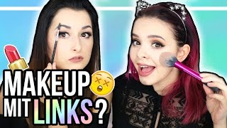 Ganzes Makeup mit der LINKEN Hand?! - Opposite Hand Makeup Challenge - mit LAURA!! ❤ thumbnail