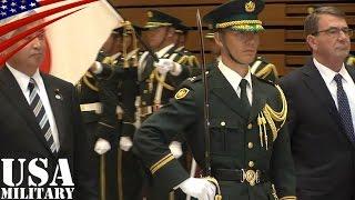 儀仗隊の栄誉礼を受けるカーター国防長官・陸上自衛隊 第302保安警務中隊