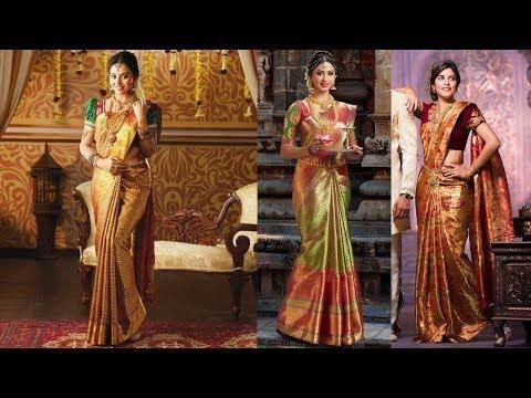 South Indian Golden Bridal Saree Designs 2018