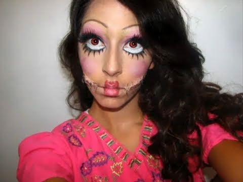 Creepy Doll Halloween Makeup - YouTube