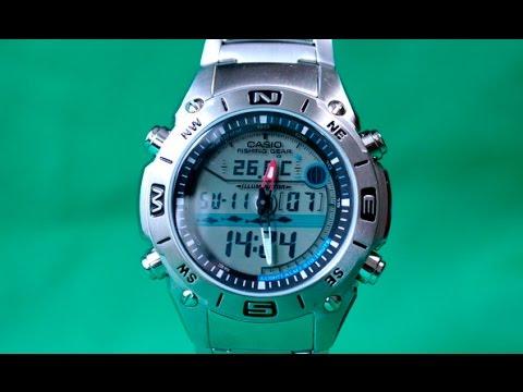 Casio AMW-702D-7A | Обзор и настройка рыболовных часов (на русском) | Купить со скидкой