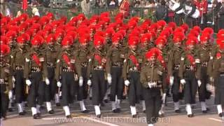 March past synchronizing with the beats of trumpets by Army Unit on R- Day