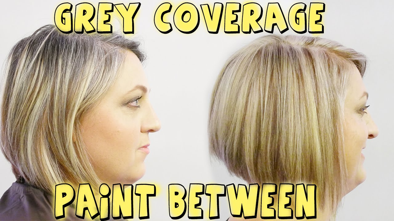 GREY COVERAGE PAINT BETWEEN TO BLOND COLOR CORRECTION - YouTube