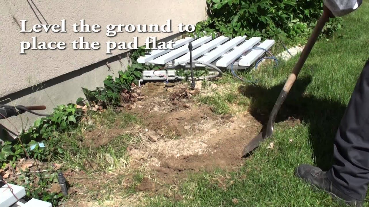 Setting the condenser pad youtube for Outdoor ac unit pad