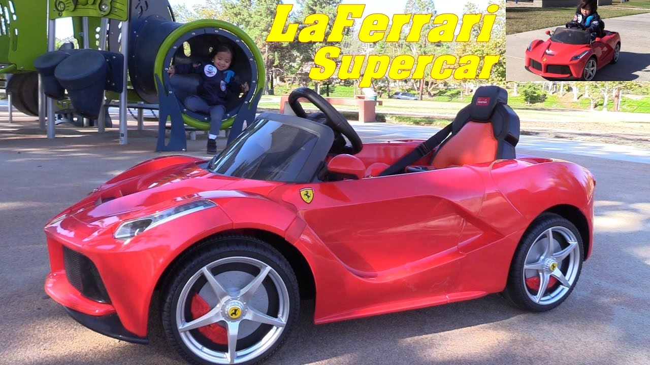 Power Wheels Rc Toy Cars Red Ferrari Laferrari Sportscar Ride On Car Drive Playtime Photo Shoot Youtube