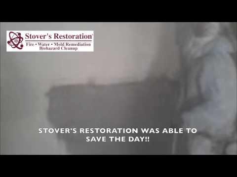 Soda Blasting Smoke Damaged Walls by Stover's Restoration