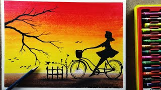 World bicycle day drawing | how to draw step by with oil pastel sanju arts