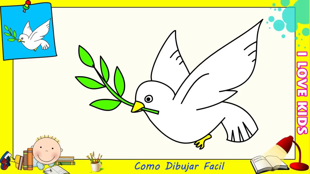 Como dibujar una paloma FACIL paso a paso para niños y principiantes ...