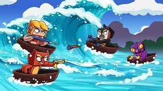 Minecraft - TSUNAMI NERF CHALLENGE: Destroy The Boats! (Nerf War Tsunami)