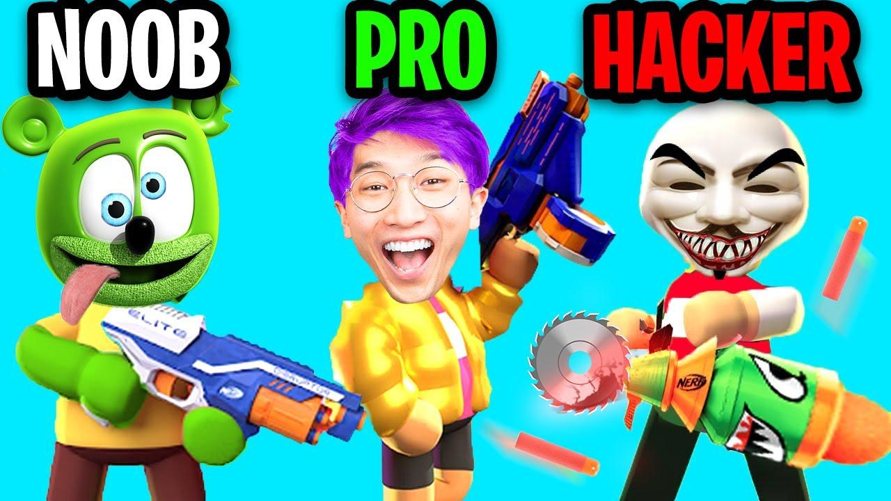 Can We Go NOOB vs PRO vs HACKER In NERF EPIC PRANKS!? (ALL LEVELS!)