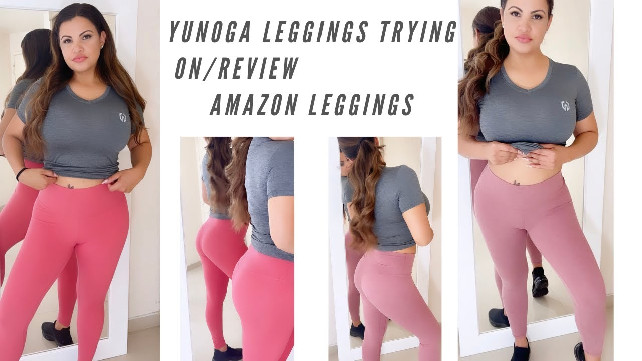 YUNOGA LEGGINGS TRYING ON REVIEW AMAZON LEGGINGS