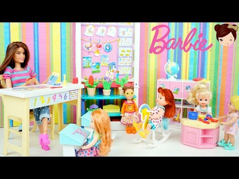 Thumbnail: Elsa & Anna Babies Go to Preschool - Barbie Day Care Toddler School Toys Set