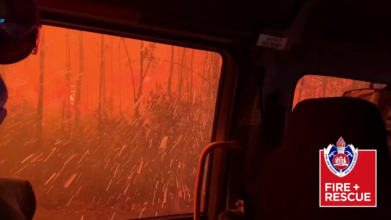 Australian firefighters drive through raging inferno I ABC7