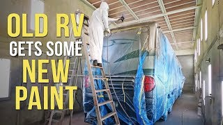 Goodbye to FLAKING RV PAINT! Roof Radius & End Cap RePainting.