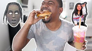TRYING CELEBRITY FOODS! Travis Scott Mcdonalds Meal & Charli D'Amelio Dunkin Donuts Coffee Drink
