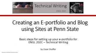 Erstellen Sie ein Seiten@Penn State E-portfolio und Blog
