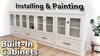 How To make a Giąnt Built-In Cabinet || Easy Living Room Storage
